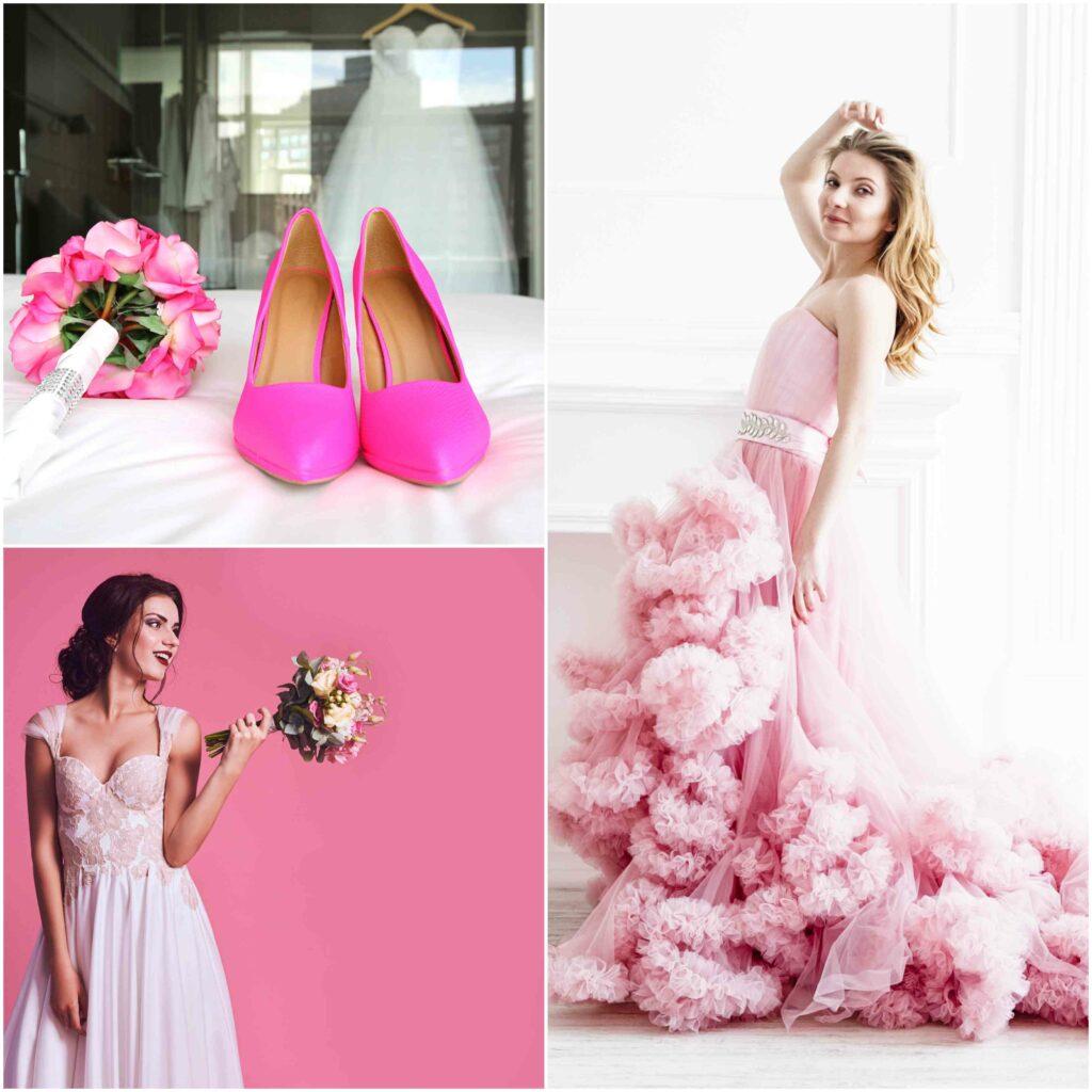 Weselne stylizacje panien młodych z różowymi dodatkami.