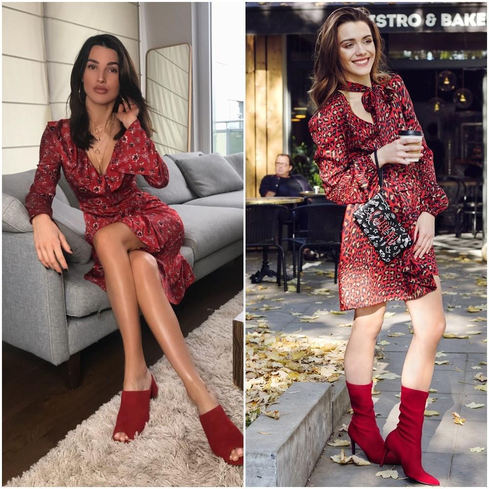 modelka w czerwonej sukience