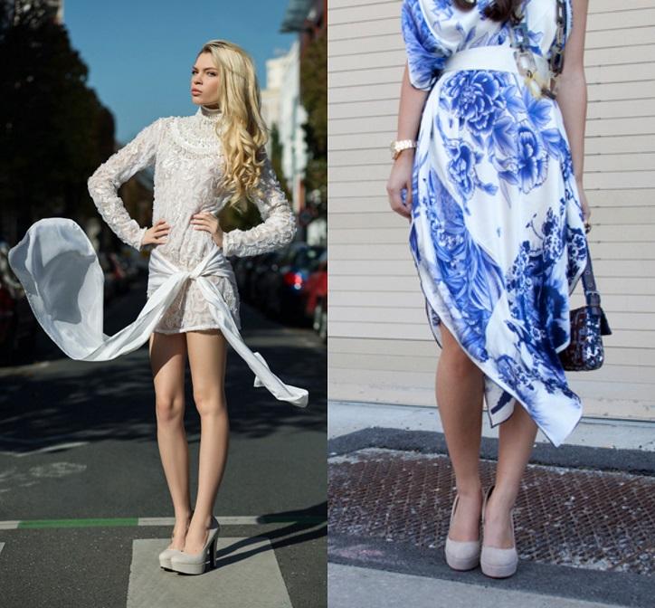 szare szpilki i sukienki stylizacje