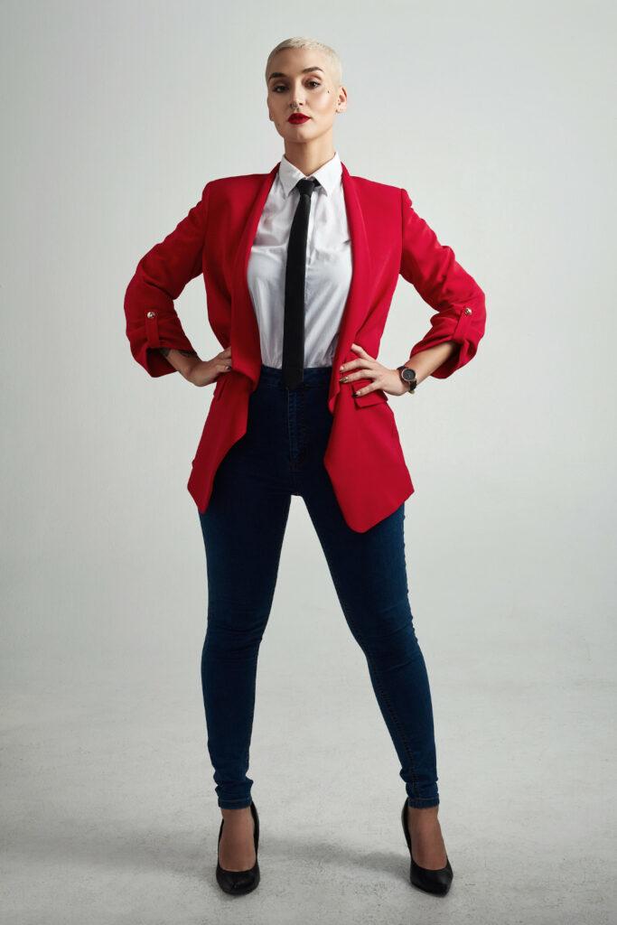 czerwony garnitur damski