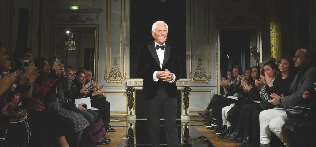 Giorgio Armani na pokazie mody