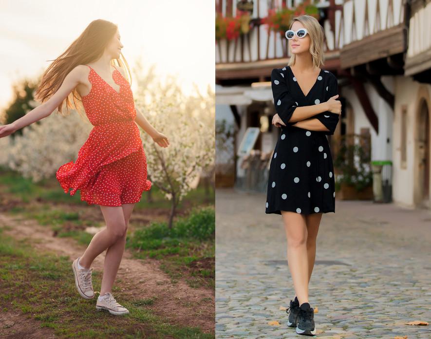 buty do sukienki w grochy