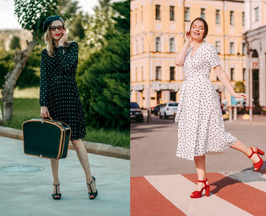 eleganckie buty do sukienki w groszki