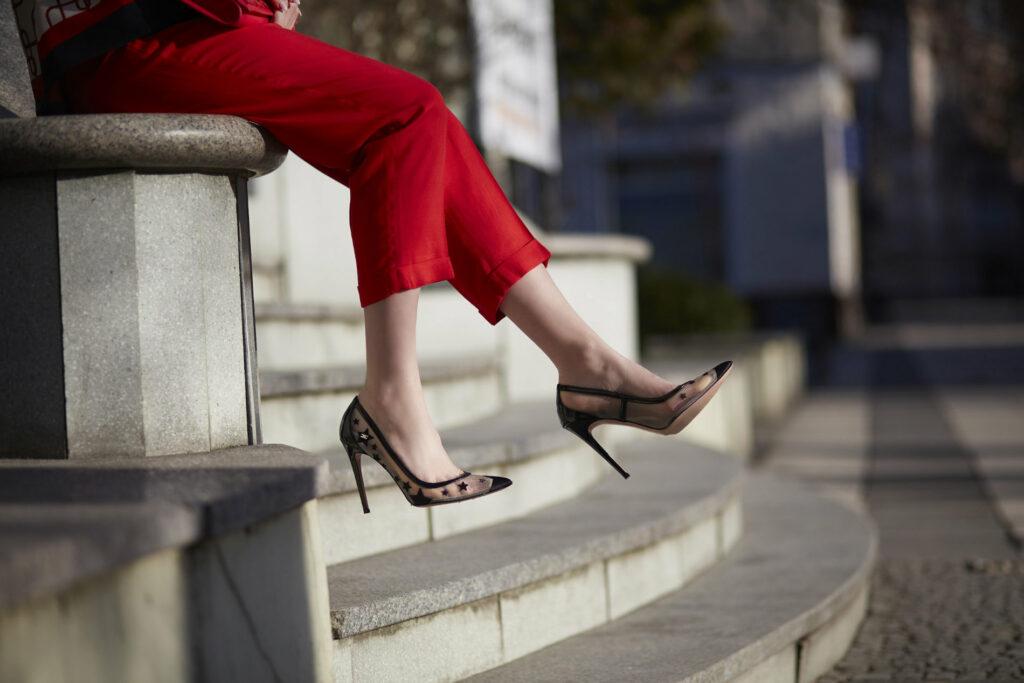 czerwone spodnie damskie